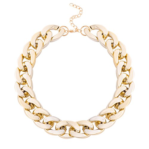 [Jane Stone Hip Hop Wide Braided Curb Link Shiny Gold Plated Chain Choker Necklace for] (90s Hip Hop Costume)