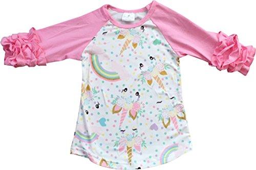 (Big Girl Kids Unicorn Ruffle Sleeve Raglan Cotton Shirt Top Tee T-Shirt Pink 8 XXXL (317810))