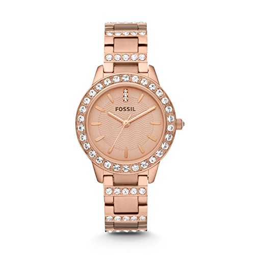 Fossil Women's Jesse Quartz Stainless Steel Dress Watch, Color: Rose Gold-Tone (Model: ES3020) (Gold Watch For Women Fossil)