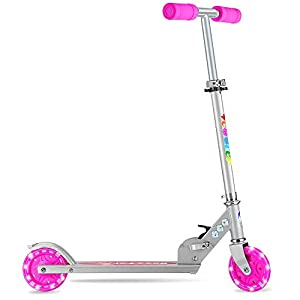 BELEEV Folding Kick Scooter for Kids 2 Wheel Scooter for Girls Boys, CSPC&ASTM Safety Certified, 3 Adjustable Height, LED Light Up Wheels for Children