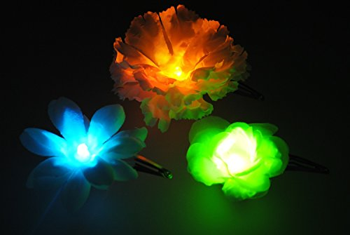 ZuZu Flowers: 3 Multi-Color Changing LED Snap Hair Clips - C