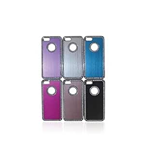 LX Aluminum Protetive Rhinestone Inlaid Back Case for iPhone 5/5S Protective Case Color Silver
