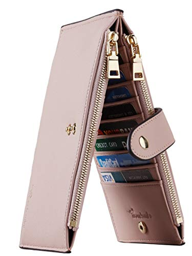 Travelambo Womens Walllet RFID Blocking Bifold Multi Card Case Wallet with Zipper Pocket (Chelsea Pink Champagne) ()