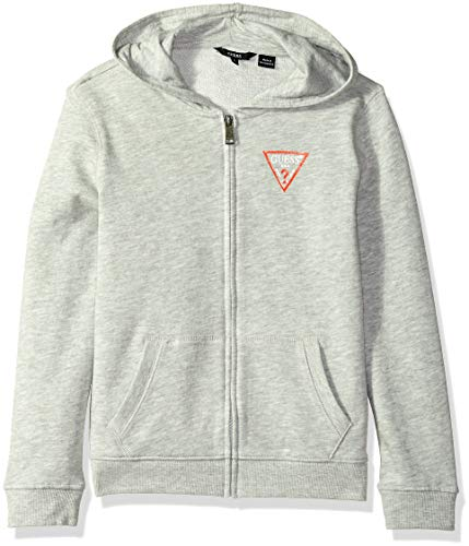 GUESS Boys' Big Long Sleeve Zip Up Logo Core Hoodie, Light Heather Grey, 12 (Guess Zip Up Jacket)