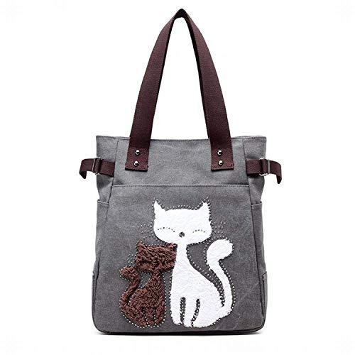 Hung Kai modèle de chat mignon dame campus vent toile sac à main sac à bandoulière Gris