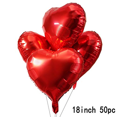 18 Red Love Heart Foil Mylar Balloons Valentines Day Wedding Favors