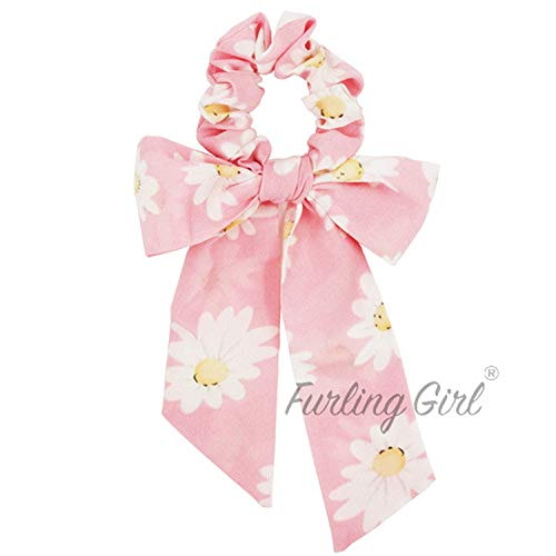1 PC Daisy Floral Bowknot Elastic Hair Bands Multi Functional Headbands Fresh Flower Hair Scrunchies for Women,Light Pink