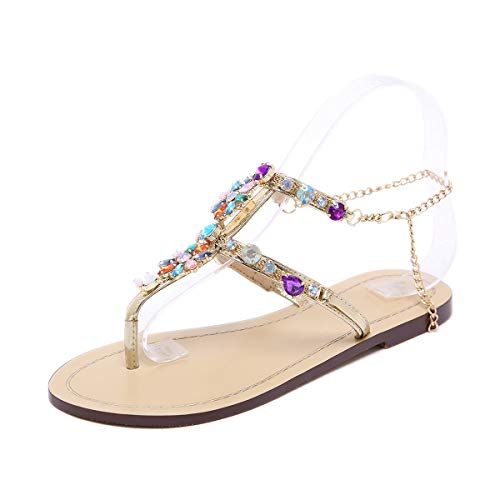 Stupmary Women Flat Sandals Crystal Summer Gladiator Sandals Flip Flops Beach Party Shoes Chains Floral (10.5, Multicolor) ()