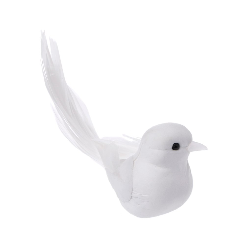 SimpleLife Uccelli del mestiere del Magnete Bianco della Piuma Artificiale Adorabile della Colomba Decorativa delle Colombe