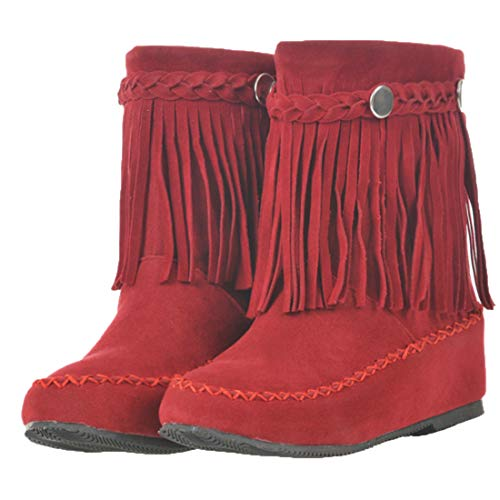 Vitalo Womens Round Toe Flat Fringe Moccasin Warm Winter Ankle High Boots Size 10 B(M) US,Red ()