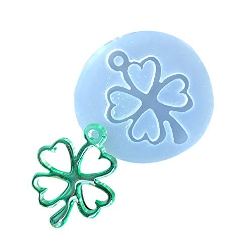 1PCS Lucky Four Leaf Clover DIY Crystal Jewelry Casting Molds Silicone Resin Jewelry Molds Craft Molds for Pendant Key Chain Gem Bracelet (Four Leaf Clover Gem)