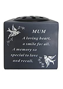 Mum Slate Grey Memorial Flower Vase – Dove & Diamante Detail Grave Plaque Tribute