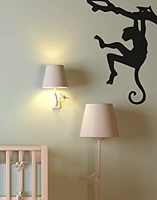 """Stickerbrand© Nature/Animals Vinyl Wall Art Safari Monkey on Tree Branch Wall Decal Sticker - Black, 31"""" x 21"""". Easy to Apply & Removable."""