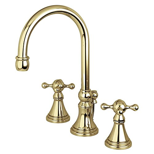 Governor Widespread Lavatory Faucet with Brass Pop-Up and Knight Cross Handle, Polished Brass - Kingston Brass KS2982KX