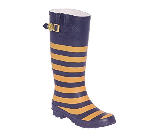 Vegas and Initial Rainboots Blue U Dark Gold a Lillybee tIwaxzqU1