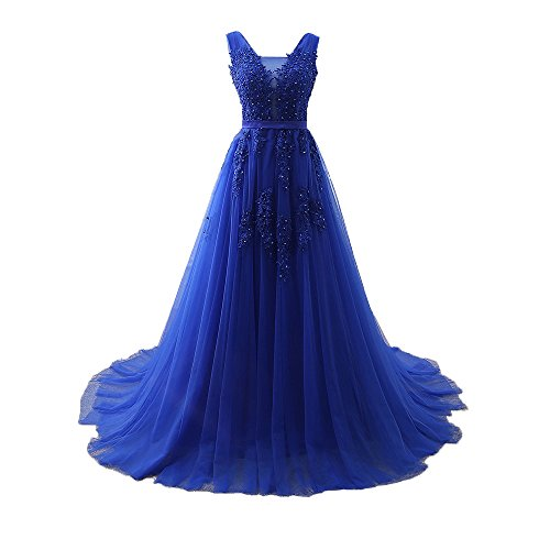 Elegant Sleeveless Prom Dress Lace Tulle Maxi Evening Formal Gown Plus Size Homecoming Dresses Royal Blue,Size 14 -