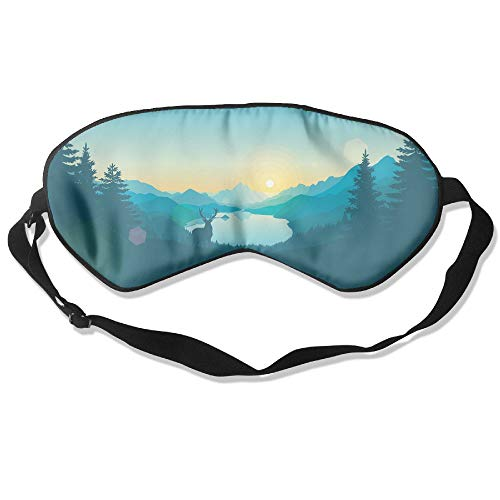Goods Shops Mulberry Silk Sleeping Masks Green Forest Deer Eyepatch Eye Masks Adjustable Sleeping Eye Shade ()