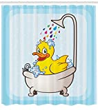 Ambesonne Duck Shower Curtain, Cartoon Character Taking a Bath Colorful Drops Blue Backdrop with Dots Kids Nursery, Cloth Fabric Bathroom Decor Set with Hooks, 75 Inches Long, Yellow Blue