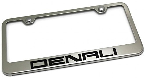 Vinyl USA GMC Denali License Plate Frame Stainless Steel Standard Bright Mirror Chrome