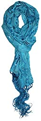 Light Blue Sequin and Lace Peacock Patterned Embellished Wrap
