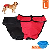 My Dog Underwear, Large Dog Diapers with 21.6 - 27.5 inch Waist, Comfortable for Male Female Dogs with Strong Fastener Strap, Washable Reusable Panties for Pets with Feeding Bowl, 2 Pack