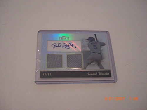David Wright 2011 Topps Tribute Game Used Dual Jersey Auto 46/99 Signed Card - Baseball Autographed Game Used Cards David Wright Signed Jersey