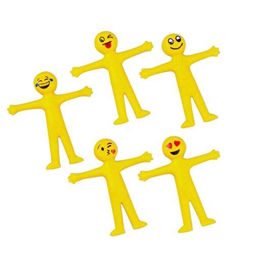 Fiaya 5PC Novelty Emoji Emoticon Stretch Squeeze Decompression Toys