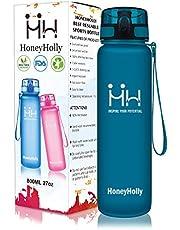 HoneyHolly Sport Trinkflasche Auslaufsicher BPA-frei Sportflasche Kunststoff mit Filter 350ml/500ml/800ml/1L/1.5 Liter, Tritan Wasserflasche kohlensäure geeignet Für Kinder, Schule,Fahrrad,Gym,Yoga, Camping