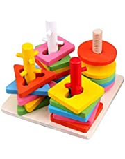 Kids Early Education Intellective Wooden Column Geometric Shape Matching Building Blocks Toy