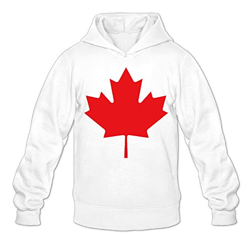 Canada Maple Red Leaf Classic Men's Hooded Hoodies White XXL ()