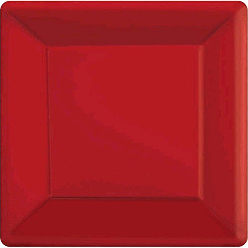 Party Perfect Vibrant Square Dessert Plates Tableware, Apple Red, paper , 7