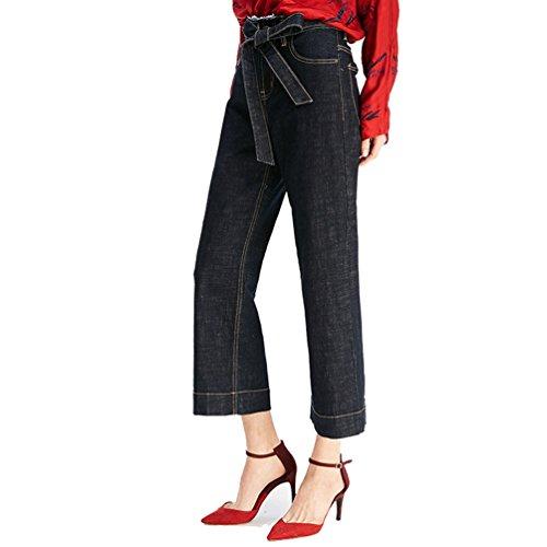 Femme Ample Large Denim Bleu Avec Mode Jeans Ceinture Jambe Marine Pantalons ZhiYuanAN En X8EdqX