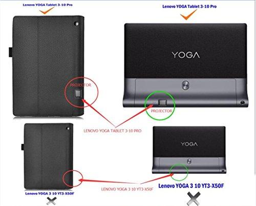 Lenovo Yoga Tablet 3 Pro 10 hülle,IVSO hochwertiges PU Leder Etui hülle Tasche Case-mit Standfunktion,ist für Lenovo Yoga Tablet 3 Pro 25,6 cm (10,1 Zoll QHD) Convertible Tablet-PC perfekt geeignet--Passen nicht Lenovo Yoga Tablet 3 25,7 cm (10,1 Zoll) YT3-X50F Tablet-PC,Schwarz