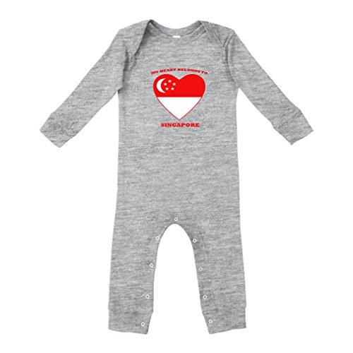 Love Soccer Heart Singapore Style 1 Cotton Long Sleeve Envelope Neck Unisex Baby Legged Long Rib Coverall Bodysuit - Oxford Gray, 18 Months