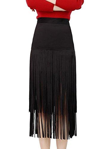 Las mujeres elegantes borlas Slim falda de lápiz moda franja Bodycon Black