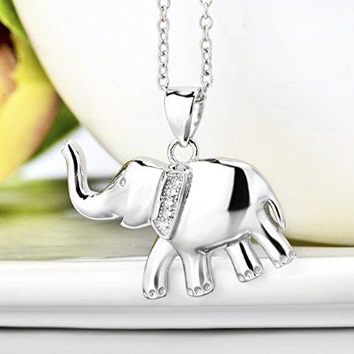 MESE London Collier Elephant Pendentif Chance 925 En Argent Sterling - Coffret Cadeau Élégant