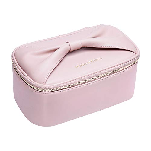 Cute Travel Makeup Bag Organizer Bag Cosmetic Case with Brush Holder Bow Handle Portable Soft Waterproof PU Leather Women Storage Makeup Tools Traveling Accessories(9x5x3.7
