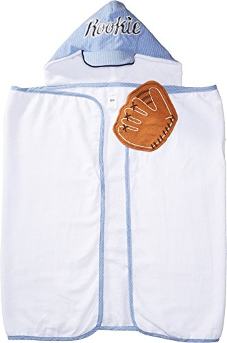 Mud Pie Baby Boys Baseball Hooded Bath Towel, White, One Siz