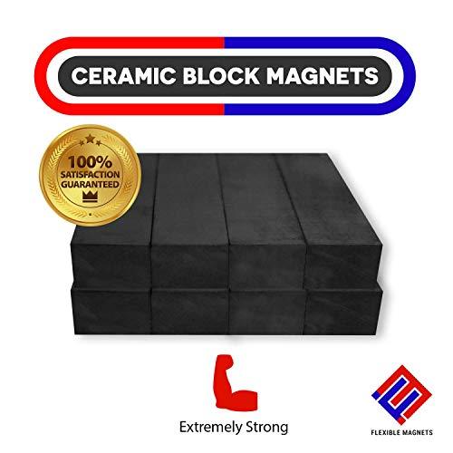 - Heavy Duty Bar Magnets - Ferrite Blocks Ceramic Rectangular Square Magnets - Bulk Magnet Grade 8 (Pack of 50)
