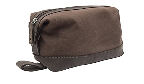 Amazon.com  Wombat Luxury Thick Waxed Canvas and Leather Toilery Bag Wash  Bag by Wombat Leather  Beauty 4b3f2be0eaf17