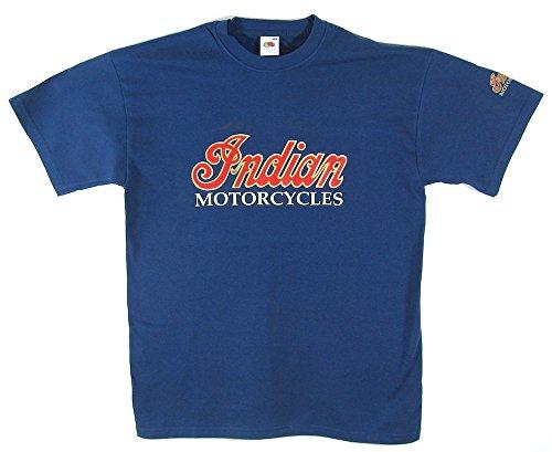Indian Motorcycles T-Shirt–Blau Shirt/rot & gold Logo in Größe M (36bis 96,5cm)–--- Indian Chief, Scout, Chieftain, Springfield–-- siehe bitte Unsere anderen Angebote für alle anderen Größen d