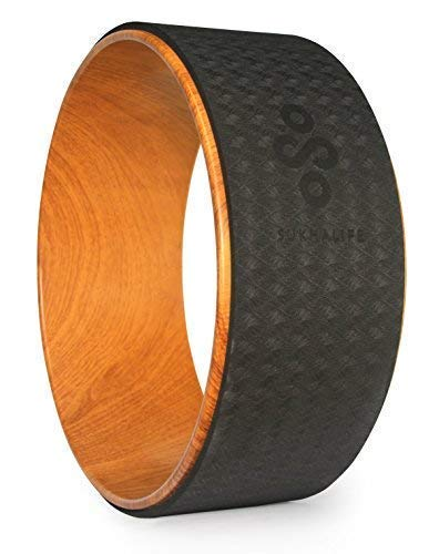 """SukhaMat Large Yoga Wheel - Pro Series - Dharma Yoga Prop Wheel for Deeper Poses, Back Stretcher and Tension Release, with Print Guide & Online Videos, 15 x 6 Inches (Woodgrain/Black 15"""")"""