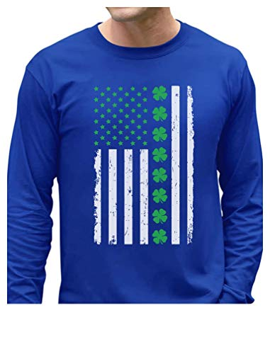 St. Patrick's Day Big Irish American Flag with Clovers Long Sleeve T-Shirt X-Large Blue -