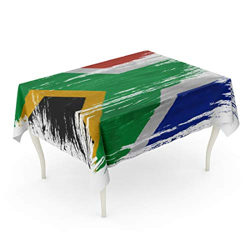 Tinmun Waterproof Tablecloth 52 x 70 Inches Stamp South African Flag on Abstract Country Dirty Drawing Decorative Rectangular Tabletop Cover for Outdoor Indoor Use