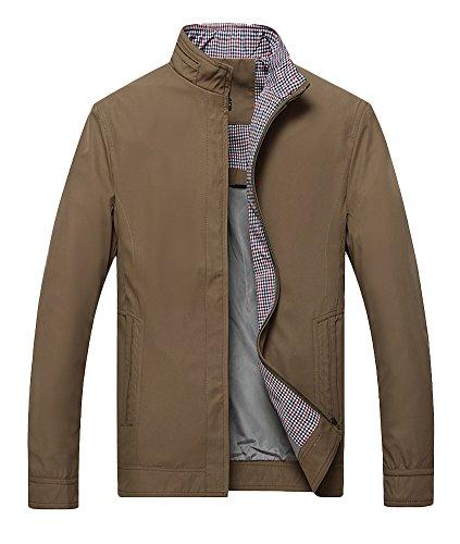 Liveinu Men's Casual Stand Collar Lightweight Slim Jacket Yellow L by Liveinu