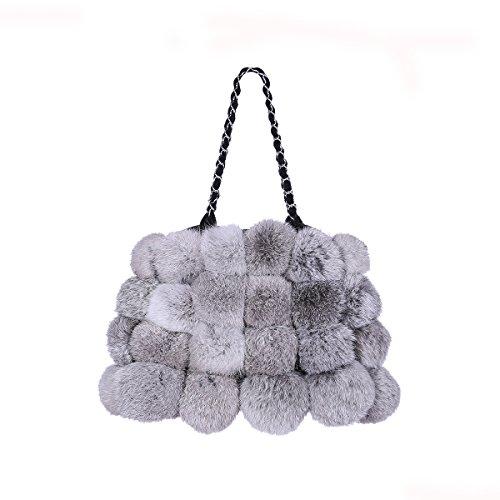 Metrekey Womens Fur Ball Purse Real Rabbit Fur Pompom Chain Handbags Naturalgrey ()