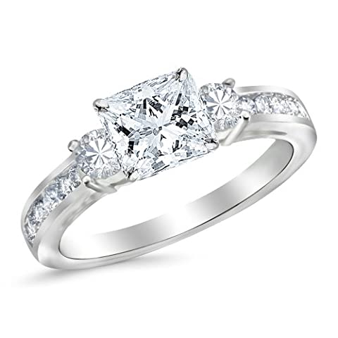 White Gold 3 Stone Channel Set Princess Cut Diamond Engagement Ring with a 0.51 Carat GIA Certified Princess Cut K Color VS2 Clarity Center - 3 Stone Four Prong Ring