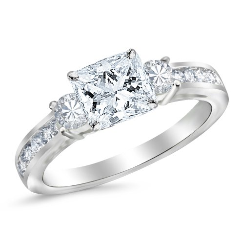 14K White Gold 1.6 CTW Princess Cut Channel Set 3 Three Stone Diamond Engagement Ring, J Color VS1-VS2 Clarity, 1 Ct Center