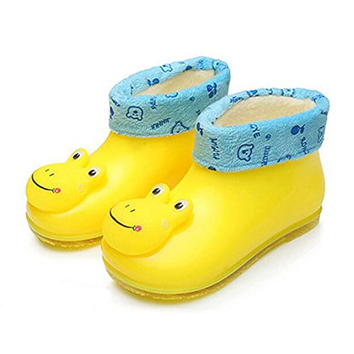 Zhuhaixmy Korean Kinder Baby Cotton Baumwolle Set Herausnehmbar Removable Rain Boots Regen Stiefel Shoes Rutschfest Gummi Rainboots Regen Schuhe Yellow