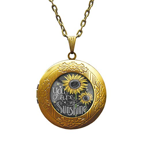 Sunflower Locket Necklace SMALL Sunflower Jewelry Sunflower Locket Pendant Silver Sunflower Charm Flower Locket Necklace Bridesmaid Locket Necklace Flower Girl Gift,AE0107